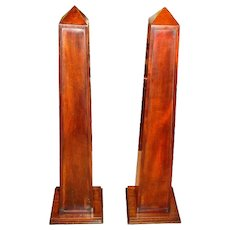 Pair of Mahogany Obelisks with Shelves