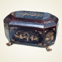 19th Century Chinese Export Lacquer Tea Caddy