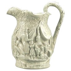 "Mid 19th Century English ""Gypsy"" Pattern Parian Ware Pitcher"