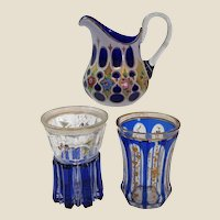 Group of Three Vintage Bohemain Cobalt Glassware Pieces
