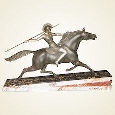 Art Deco Warrior Goddess Sculpture Attributed to Armand Lemo