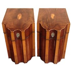Pair of 18th Century English Inlaid Mahogany Knife Boxes