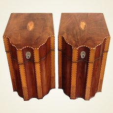 Pair of 18th Century English Inlaid Mahogany Knife Boxes