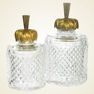 Set of Two French Cut Crystal and Gilt Bronze Vanity Bottles