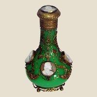 Jade Opaline Glass Palais Royal Cameo Perfume Bottle