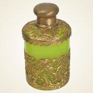 Palais Royal Green Opaline and Gilt Bronze Scent Bottle