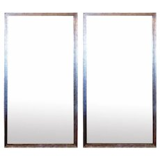 Pair of Large Antiqued Glass Trumeau Style Mirrors