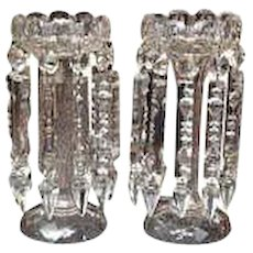 Pair of Hand Cut Crystal Lustres