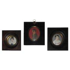 Group of Three Regency Period Miniature Portraits of Ladies