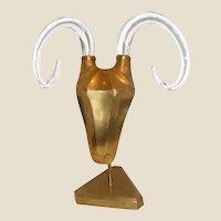 1970's Modernist Brass Ram's Head Sculpture with Glass Horns