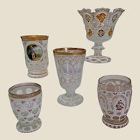 Collection of Bohemian White Cut-Out Glassware