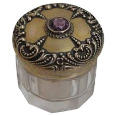Glass and Sterling Vanity Jar by Foster & Bailey of Providence, RI