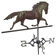 American Copper Trotting Horse Weathervane with Directionals