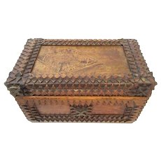 Tramp Art Box with Historical Advertising Art