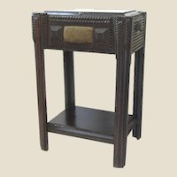 Tramp Art Sewing Stand/Side Table