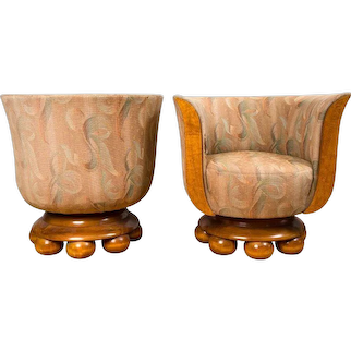 Pair of Burl Wood Art Deco Club Chairs from Belgium