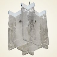 Small-Scale Interlocking Glass Flush Mount Pendant Light