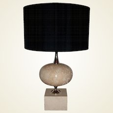 1970s Polished Travertine Phillipe Barbier Table Lamp