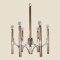 Italian Mid-Century Modern Six-Arm Chandelier Designed by Gaetano Sciolari