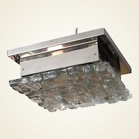 """""""Ice"""" Glass and Chrome Square Flush Mount Ceiling Light"""