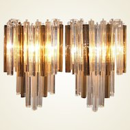 Pair of Large Venini Smoked and Clear Triedri Glass Sconces
