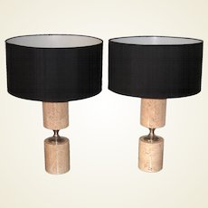 Pair of Travertine and Nickel Table Lamps Attributed to Maison Barbier