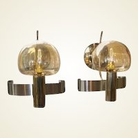 Pair of Mid-Century Modern Italian Glass and Metal Wall Lights