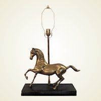Mid-Century French Brass Horse Mounted on Stone Table Lamp