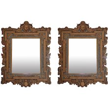 Pair of Giltwood Cherub Theme Wall Mirrors