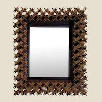 Tramp Art Crown of Thorns Framed Mirror