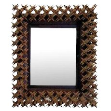 Tramp Art Crown of Thorns Framed Mirror