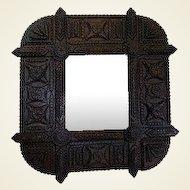 Tramp Art Framed Wall Mirror