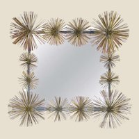 "Striking Handcrafted French Metal ""Pom-Pom"" Wall Mirror"