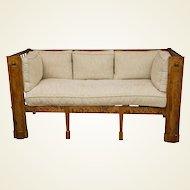 Stately Tiger Maple Biedermeier Sofa