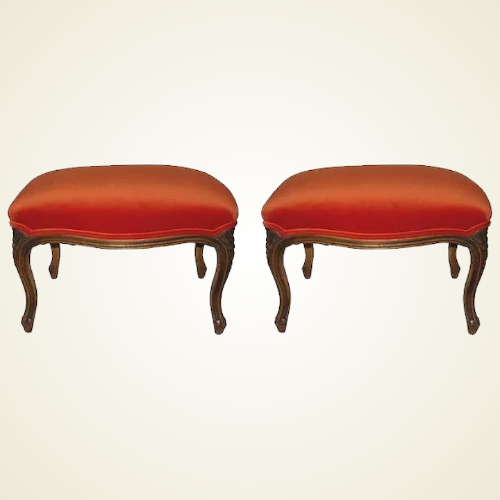 Pleasant A Pair Of Victorian Carved Wood Foot Stools Newly Upholstered In A Rich Orange Velvet Ocoug Best Dining Table And Chair Ideas Images Ocougorg