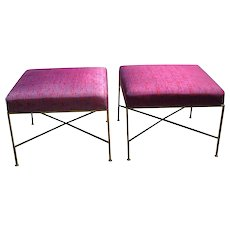 Pair of Paul McCobb Brass X-Base Stools