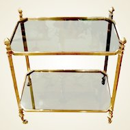 French 1940's Brass & Glass Serving Table on Casters