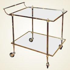 Elegant French Mid Century Brass Bar Cart