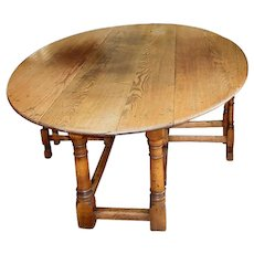 English Oak Gateleg Dining or Hunt Table