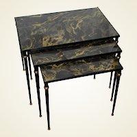 Set of Mid-Century Italian Glass Top Nesting Tables