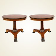 Pair of Regency Style Parcel Gilt and Ebonized Pedestal Tables