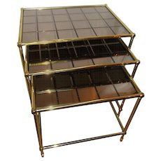 French Brass Nesting Tables with Amber Mirrored Grid Design Glass