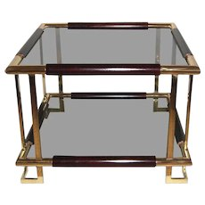Mid-Century French Brass, Wood and Smoked Glass Side Table