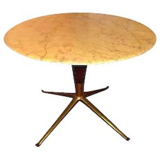 1940s Italian Marble and Brass Side Table in the Manner of Ico Parisi