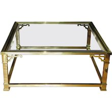 Vintage Mastercraft Polished Brass & Beveled Glass Coffee Table