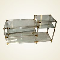 French 1970s Lucite Console with Glass Shelves