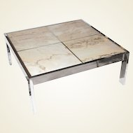 1970s Pace Collection Chrome and Marble Coffee Table