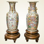 Pair of Large 19th Century Chinese Cantonese Floor Vases on Carved Wood Stands