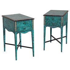 Pair of Vintage English Painted Side Tables, Gilt Accents circa 1940