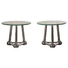 Pair of French Chrome Atomic End Table with Glass Tops circa 1970